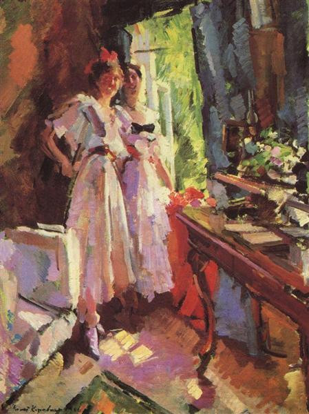 in front of the open window shalyapins daughters irina and lidya 1916 the tretyakov gallery moscow russia